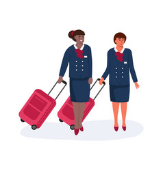 Air hostess stewardess with luggage standing vector