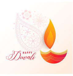 Beautiful diwali decorative diya background vector
