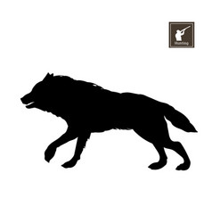 black silhouette running wolf vector image