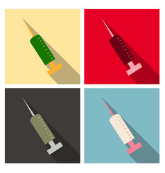 Black syringe icon isolated simple vaccine sign vector