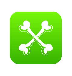 bone icon green vector image