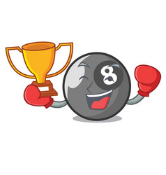 boxing winner billiard ball mascot cartoon vector image