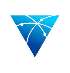 Broadband communication path triangle symbol logo vector