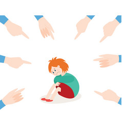 bullying of child girl sitting alone flat vector image