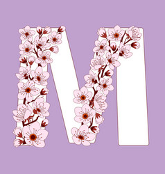 Capital letter m patterned with cherry blossom vector