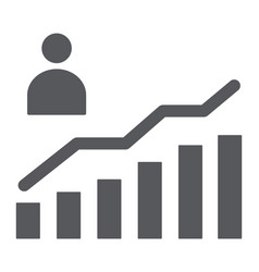 career growth glyph icon increase and diagram vector image