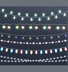 Christmas glowing lights garlands vector