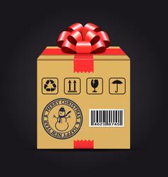christmas shipping gift box vector image vector image