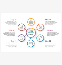 Circle infographics with six elements vector
