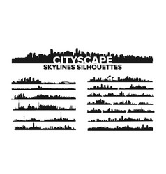 cityscape skyline silhouettes set vector image