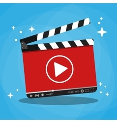 Clapperboard with video web streaming player vector