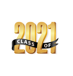 Class 2021 gold lettering graduation 3d logo vector