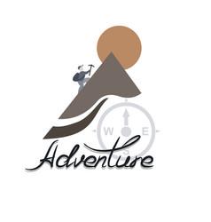 Climber climbs the mountain the logo of adventure vector