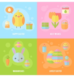 Colorful spring Easter flat banners set vector