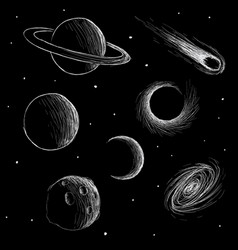 Cosmic phenomena and space planets vector