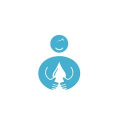 creative body drop water logo vector image
