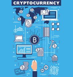 cryptocurrency bitcoin blockchain mining farm vector image