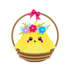 cute cartoon rooster chicken sitting in basket vector image