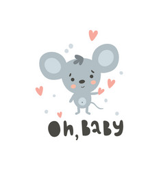 cute mouse and text vector image