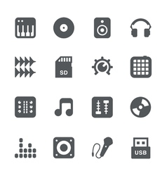 DJ equipment icon set vector image