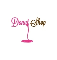Donut Shop Glazed Logo Design Background vector