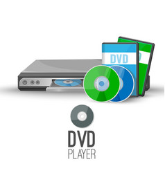 dvd player device plays discs produced under dvd vector image