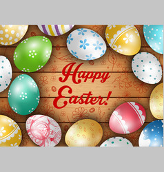 easter greeting card with color eggs vector image
