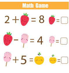 educational game for children complete equations vector image