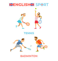 english sport boys and girls playing tennis set vector image