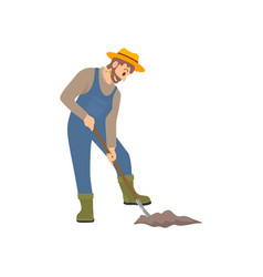 farming person working on land vector image