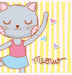Female cat animal dancing with stars vector