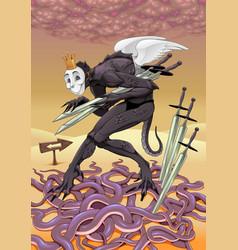 Five swords tarot card vector