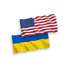 Flags ukraine and america on a white background vector