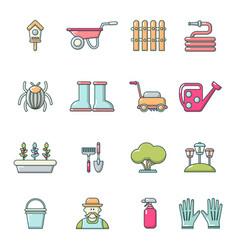 Gardener icons set cartoon style vector