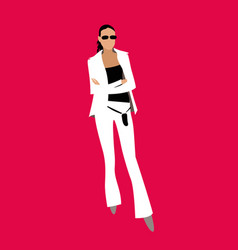 girl in a white suit on a red background vector image