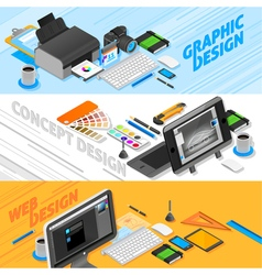 Graphic Design Isometric Banners Set vector image