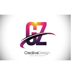 Gz g y purple letter logo with swoosh design vector