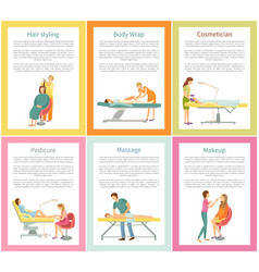 Hair styling and body wrap posters set vector