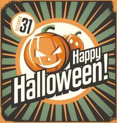 Halloween retro poster design concept vintage tin vector