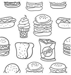 Hand draw of food various doodles vector