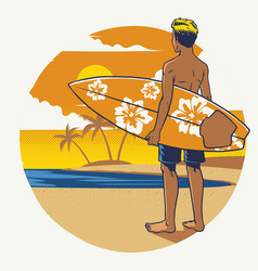 Hand drawing surfer with the surfboard vector