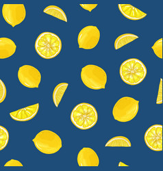 hand drawn seamless pattern with lemons whole and vector image