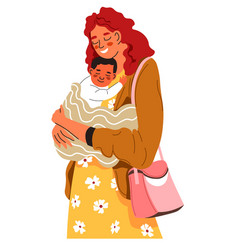 Happy woman holding toddler child on hands vector