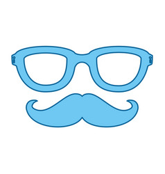 Hat and mustache icon vector