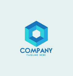 hexagon logo design vector image