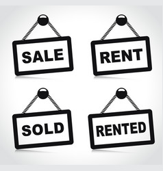 house rent and sale signs vector image