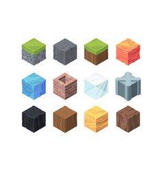 Landscape cubes isometric game set formations vector