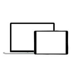 Laptop and tablet with blank screens vector