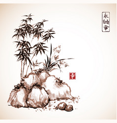 Little bamboo tree and wild orchid on rocks vector