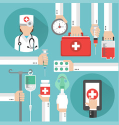 Medical online design flat with women doctor vector